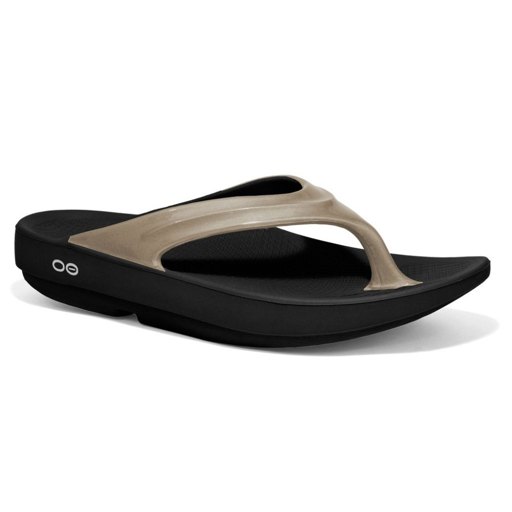 f49675270bdd OOFOS OOlala - Womens Recovery Thongs - Black Latte