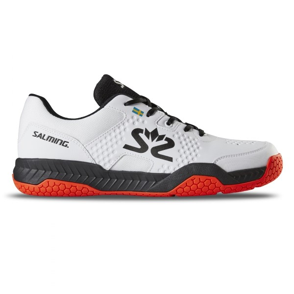 Salming Hawk Mens Indoor Court Shoes - White/Black/Red