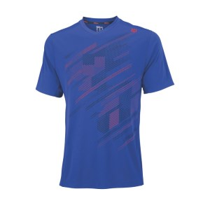 Wilson Blur Plaid V-Neck Mens Tennis T-Shirt