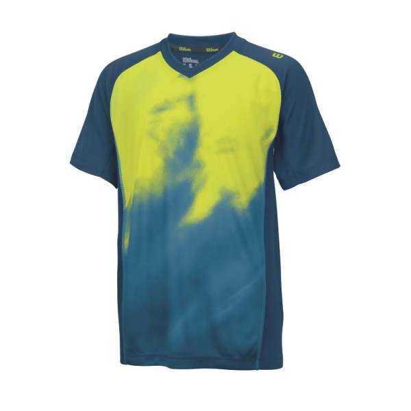 Wilson Smoke Print Kids Boys Crew Tennis T-Shirt - Pacific Teal/Solar Lime
