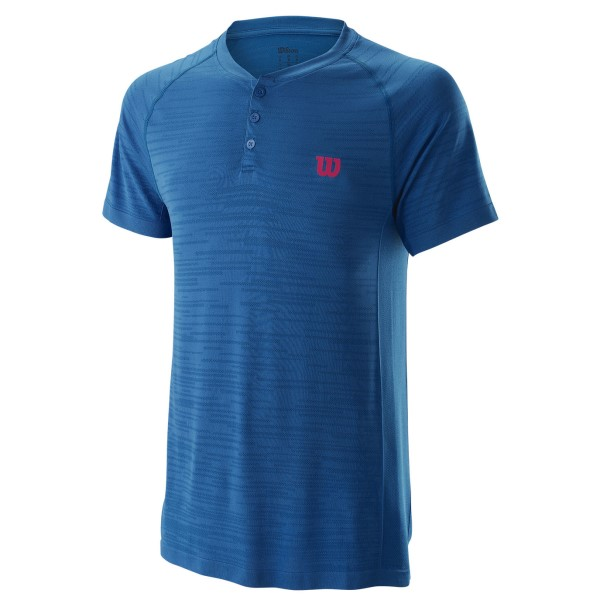 Wilson Competition Henley Mens Tennis Shirt - Imperial Blue