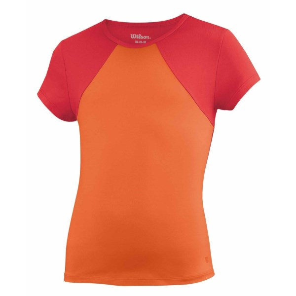 Wilson Solana Short Sleeve Girls Tennis T-Shirt - Coral/Cherry